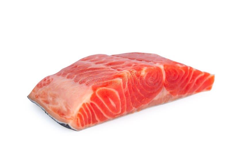 Salmone fresco isolato su fondo bianco fotografia stock