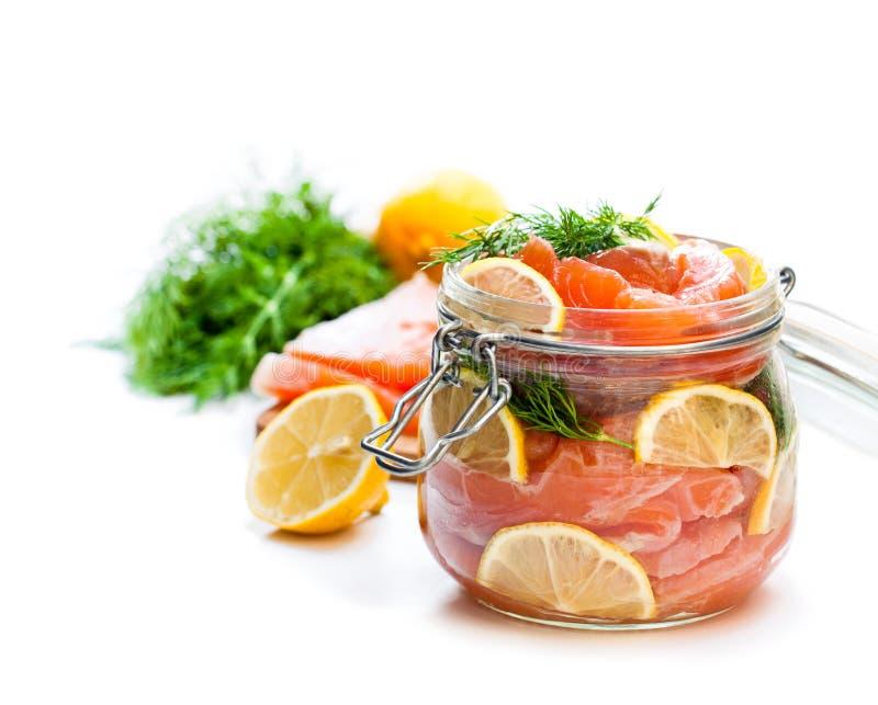 Salmone salato con il limone in barattolo di vetro sul backgro bianco fotografie stock libere da diritti