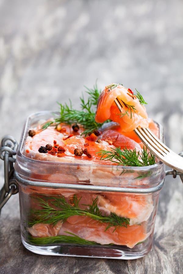 Salmone salato con le erbe in barattolo di vetro su fondo di legno fotografia stock libera da diritti