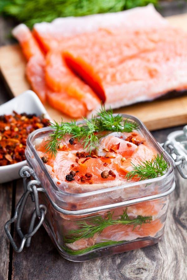 Salmone salato con le erbe in barattolo di vetro su fondo di legno immagine stock libera da diritti
