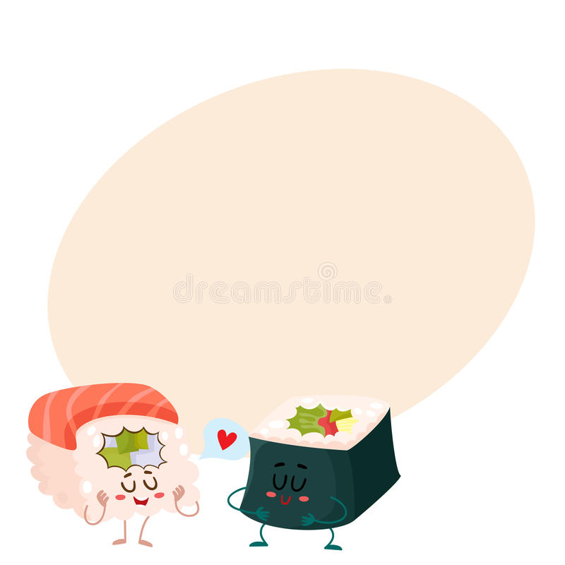 Salmone, sushi del tonno e nori giapponesi, caratteri del rotolo dell'alga royalty illustrazione gratis