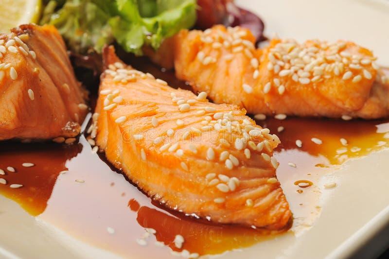 Salmones de Teriyaki imagen de archivo