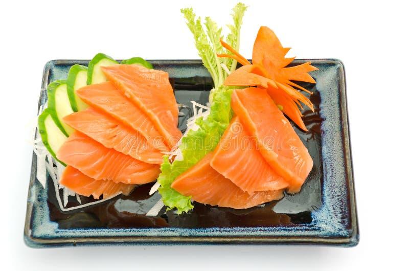 Salmones del Sashimi en la placa, comida japonesa imagen de archivo libre de regalías