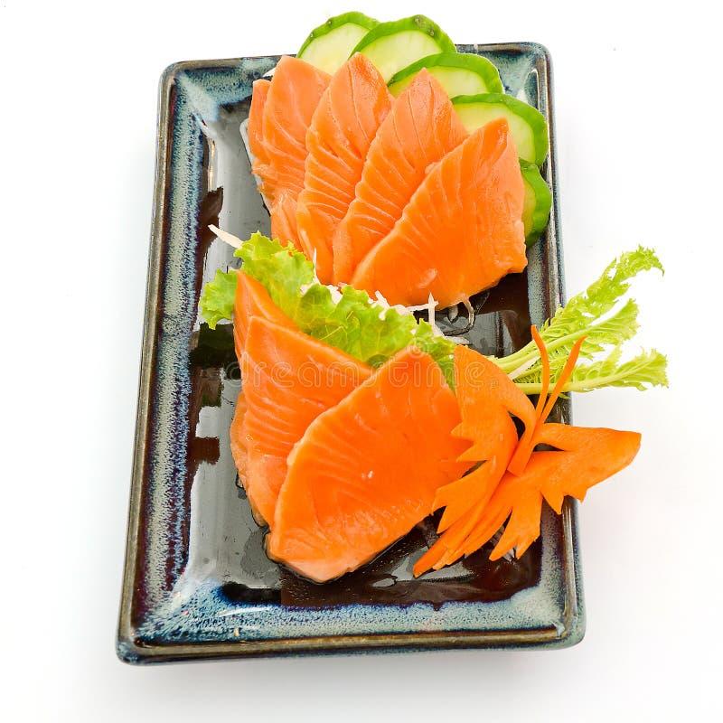 Salmones del Sashimi en la placa, comida japonesa fotos de archivo libres de regalías