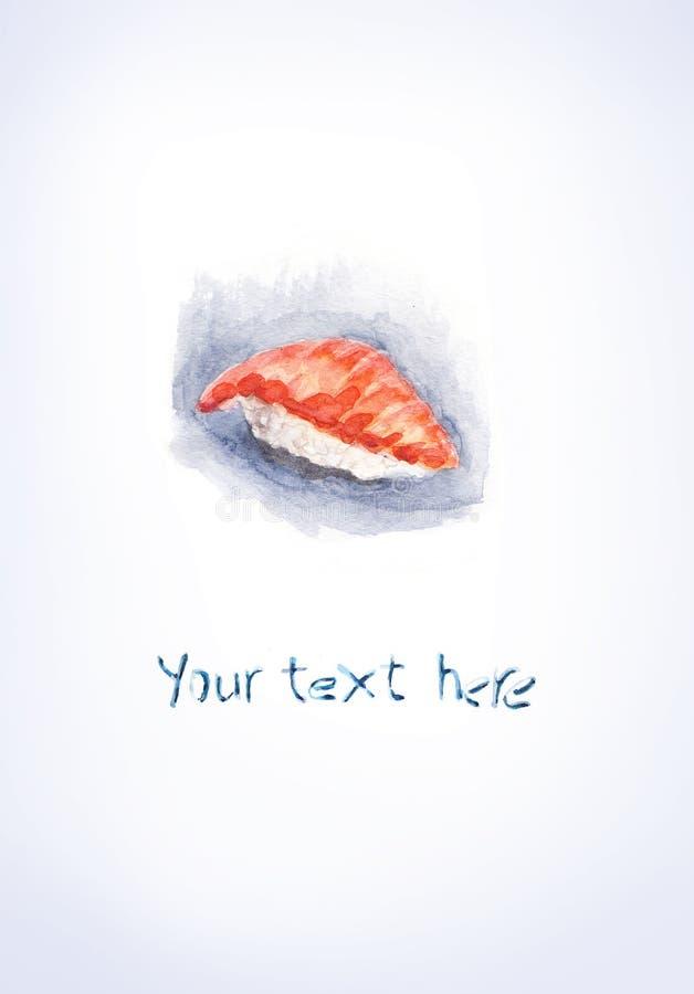 Salmones del sushi de la acuarela imagen de archivo libre de regalías