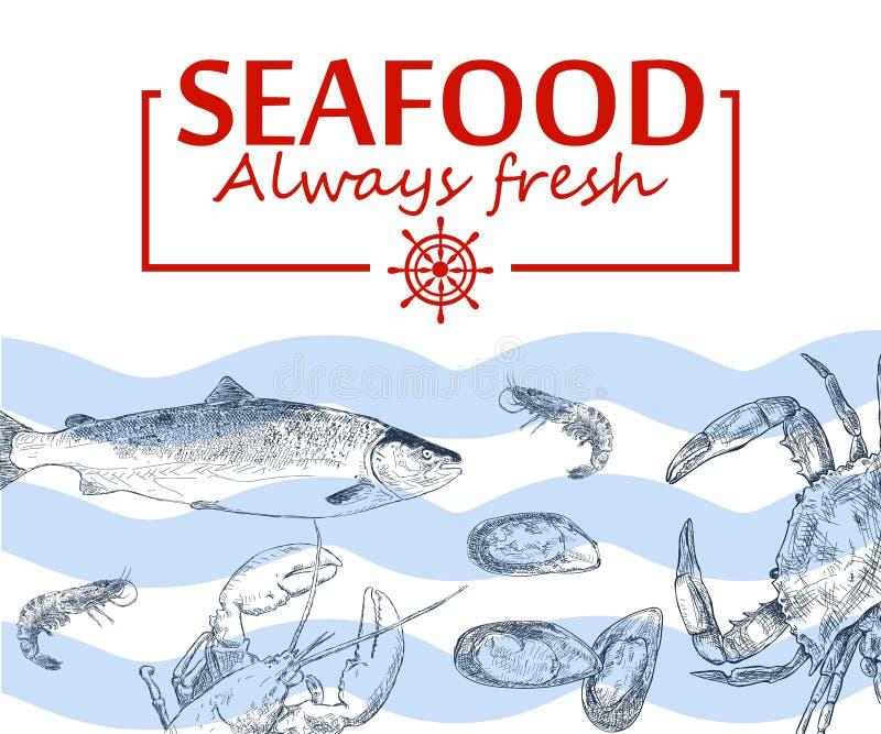 Salmones, filete de pescados de atún, cangrejo, mejillones, ostras, gamba, camarón, libre illustration