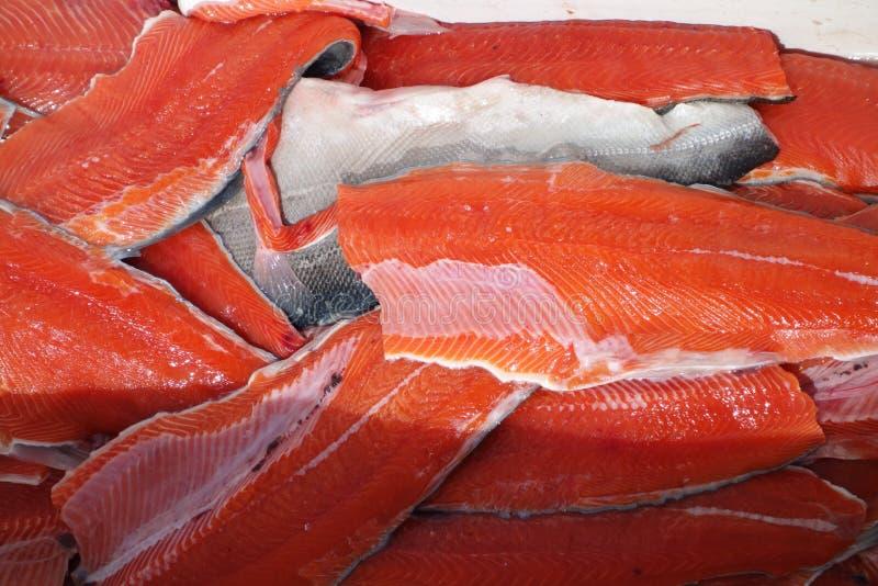 Salmones rojos cortados fotografía de archivo libre de regalías