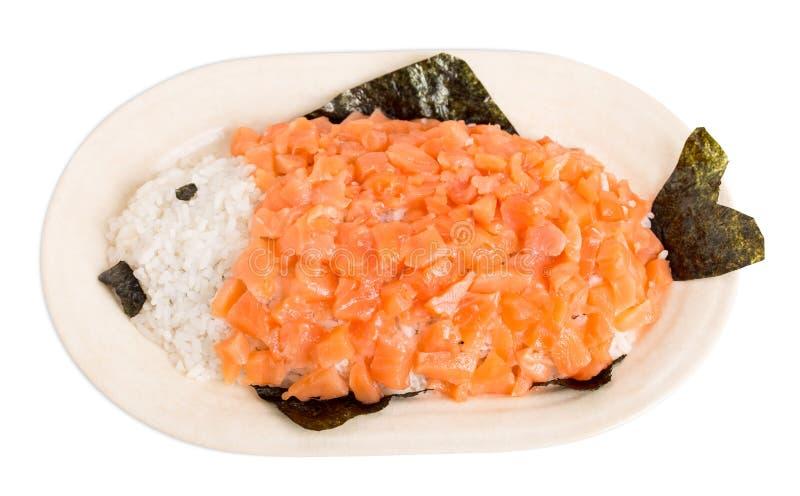 Salmones y arroz en la forma de pescados imagenes de archivo
