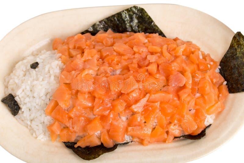 Salmones y arroz en la forma de pescados foto de archivo libre de regalías
