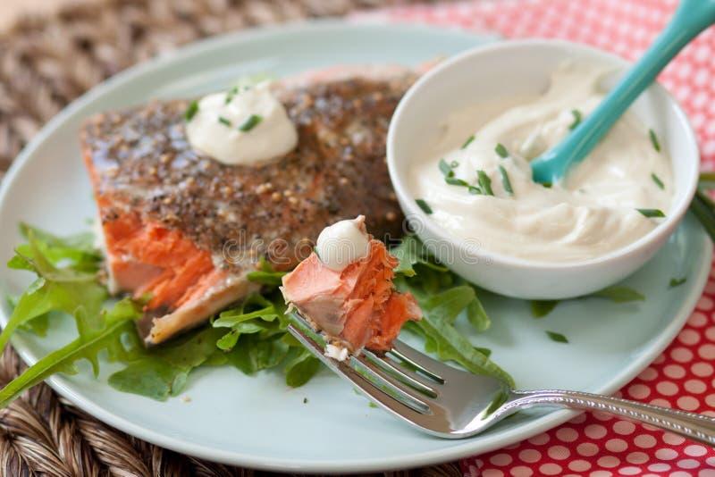 Salmoni con salsa immagini stock