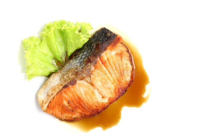 Salmoni cotti con la salsa di teriyaki fotografia stock libera da diritti