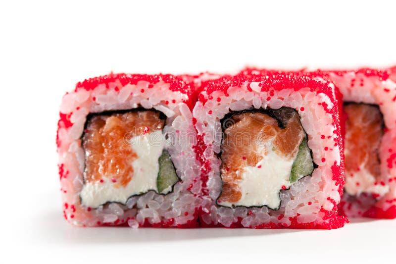 Salmoni e rullo di Tobiko fotografia stock