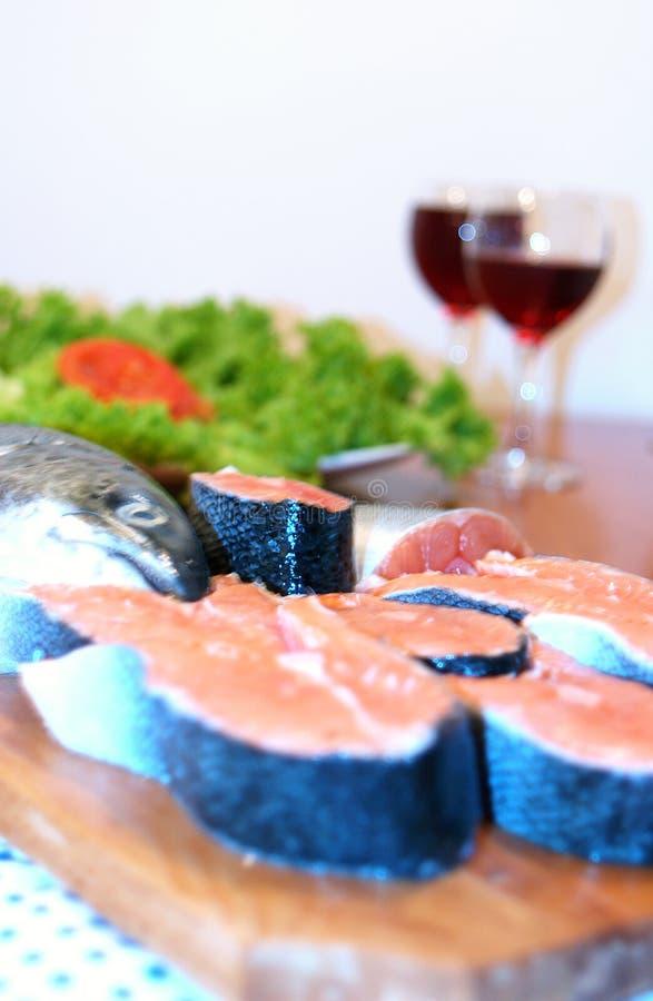 Salmoni e vino fotografia stock libera da diritti