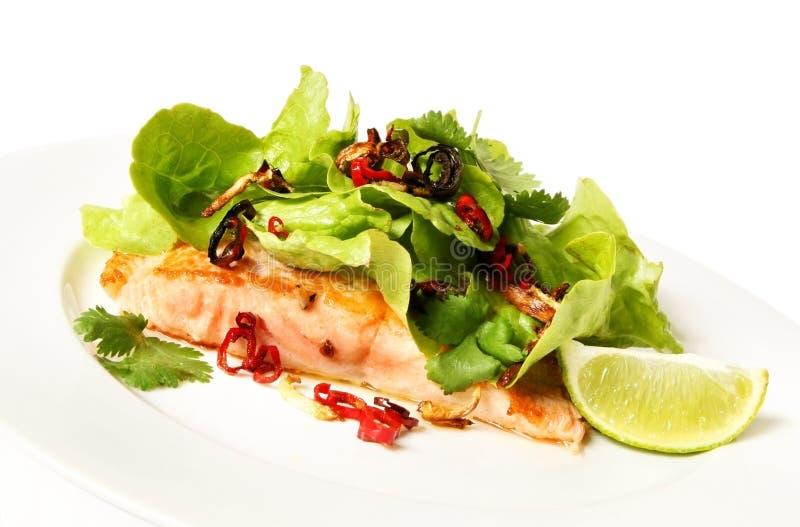 Salmoni ed insalata immagini stock libere da diritti