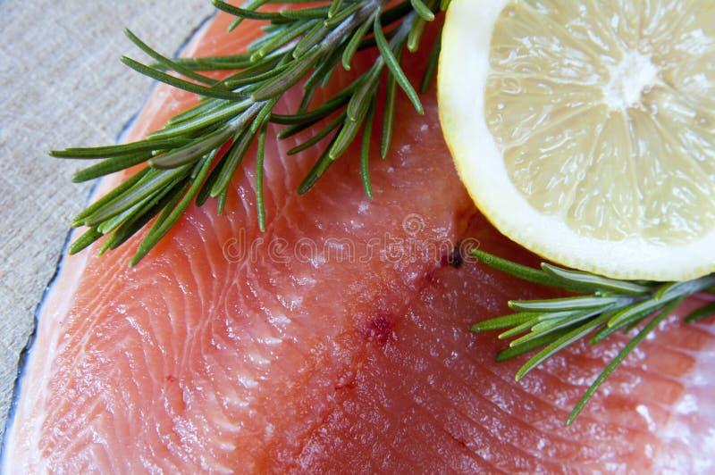Salmoni e limone freschi fotografie stock