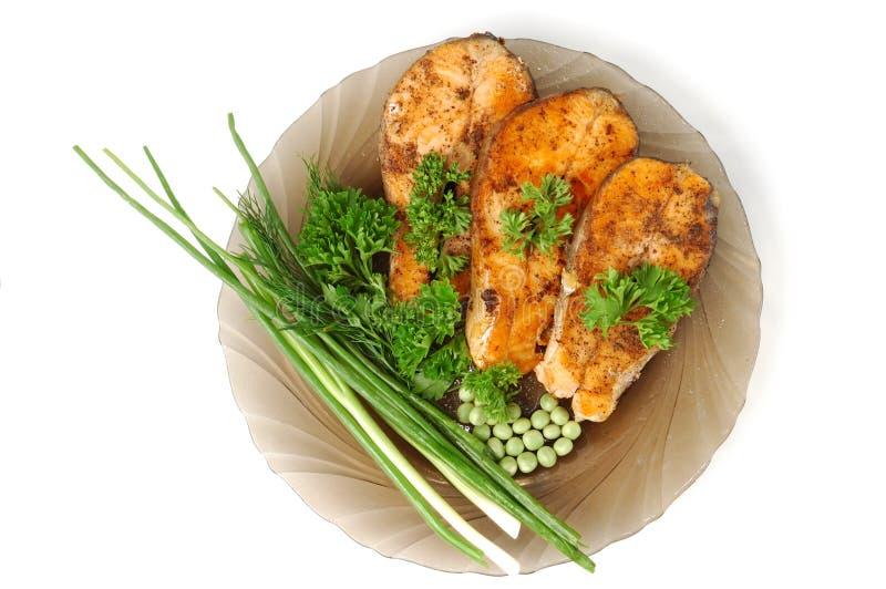 Salmoni fritti appetitosi fotografia stock