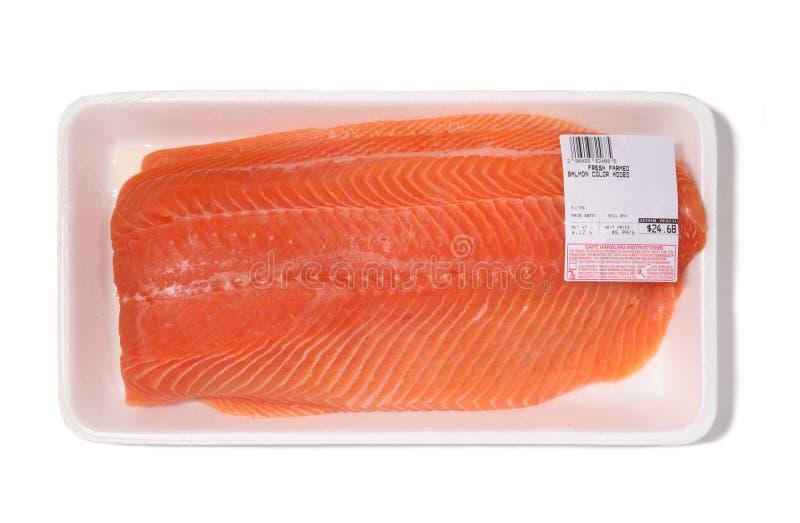 Salmoni impaccati da vendere fotografie stock
