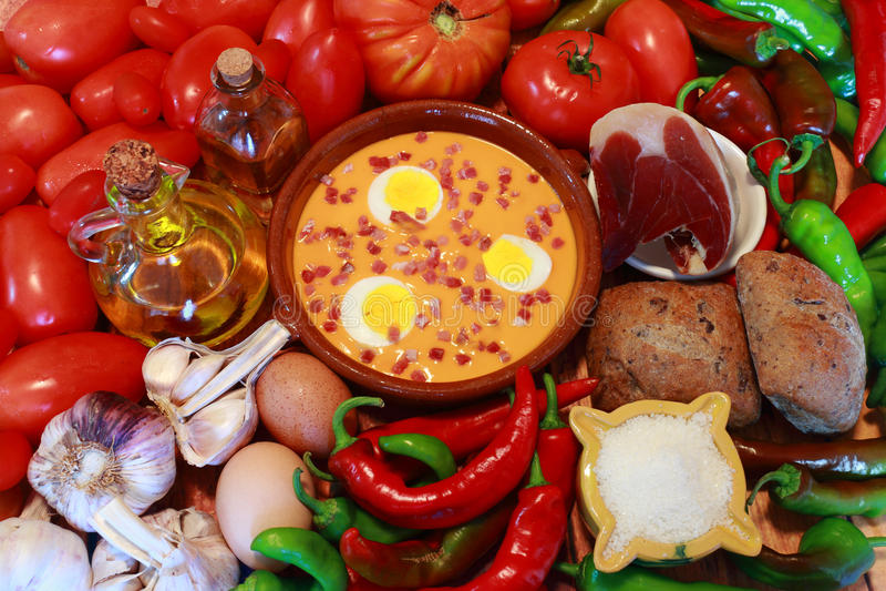 SALMOREJO是一顿典型的安达卢西亚的膳食,在西班牙南部 库存照片