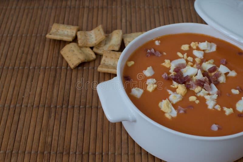 Salmorejo,典型的西班牙夏天蕃茄汤 免版税库存照片