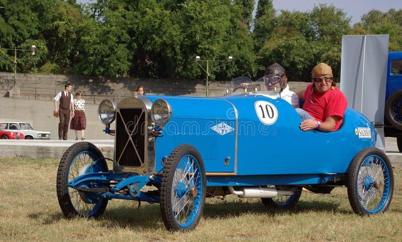 Salmson S4 Roadster Sport. BUDAPEST-SEPTEMBER17: Classic 1930's Salmson S4 sport roadster before racetrack at Velodrom Millenaris oldtimer show on September 17 stock images