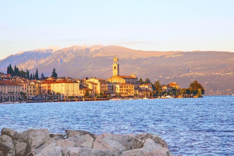 Salo加尔达湖,意大利全景  库存图片