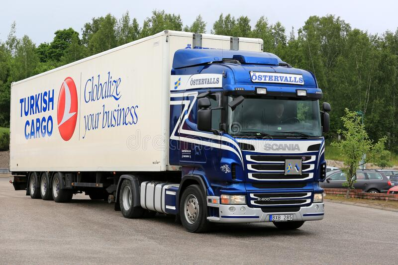 Blue and White Scania R400 Truck royalty free stock photo
