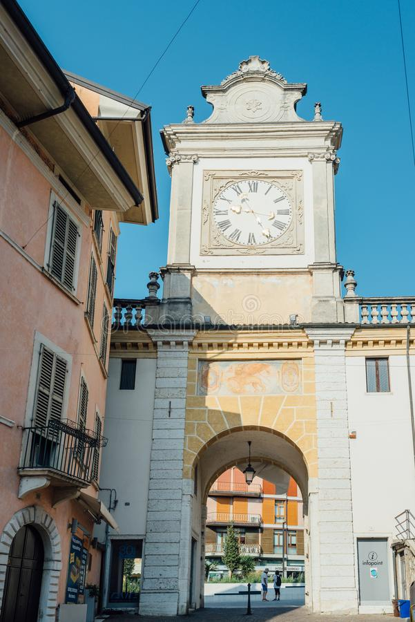 The Porta dell`Orologio identifies access to the historic core of Salo` from the west side, in the area called Fossa. Salo` Lake Garda, Italy - Sunday 1 stock photo