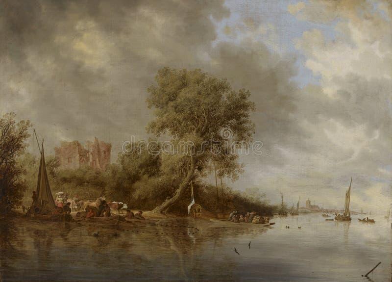 """Salomon Jacobsz van Ruysdael ( 1600/1603†""""1670): Rivierlandschap met de Ruïnes van het Kasteel van Egmond/Jokimaisema, stock foto's"""