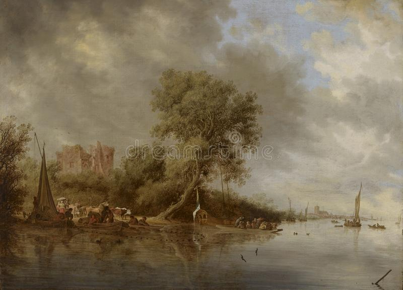 Salomon Jacobsz. van Ruysdael (1600/1603–1670): River Landscape with the Ruins of the Castle of Egmond / Jokimaisema, stock photos