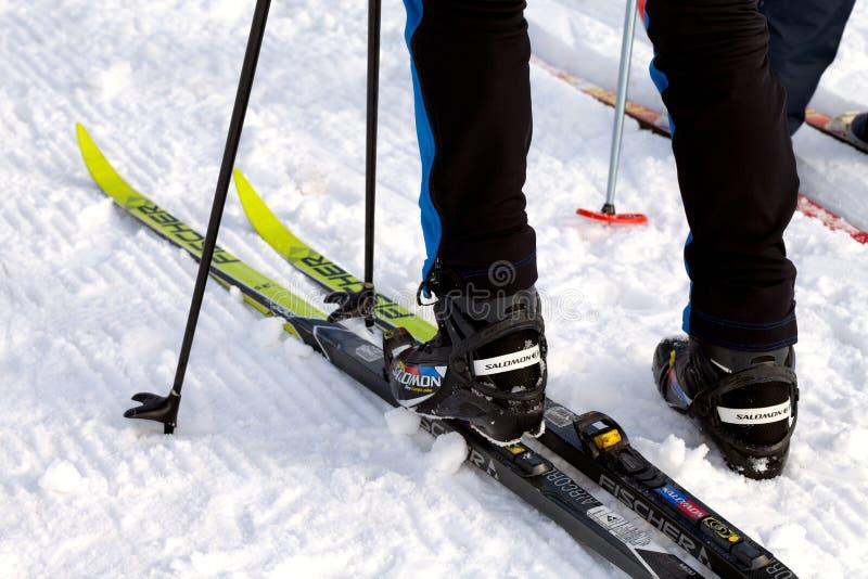 Salomon Ski Boots And Fischer Skis fotos de stock