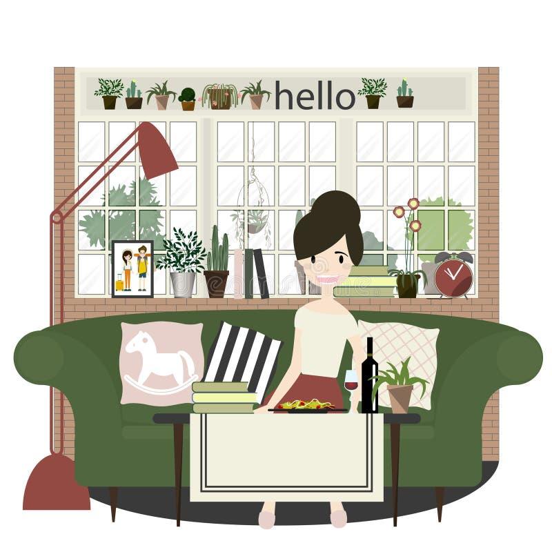 Salon avec des meubles Illustration plate de vecteur de style illustration de vecteur