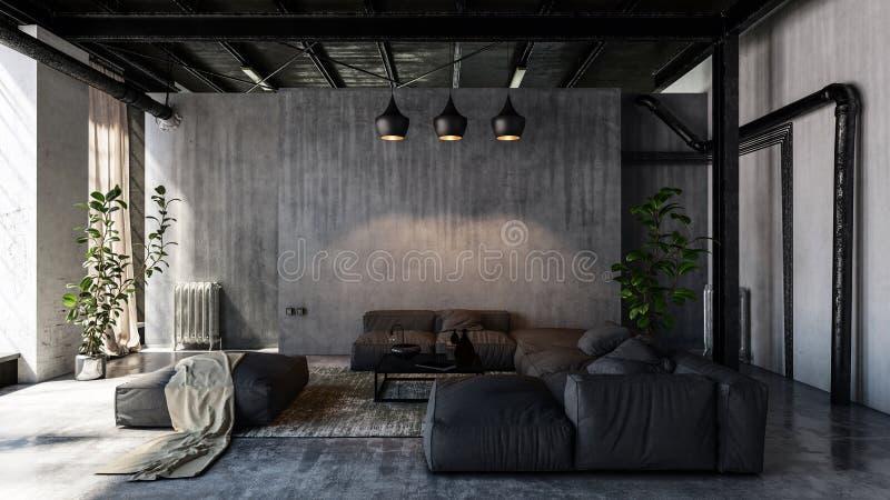 Salon avec des sofas dans le style de grenier plat illustration de vecteur