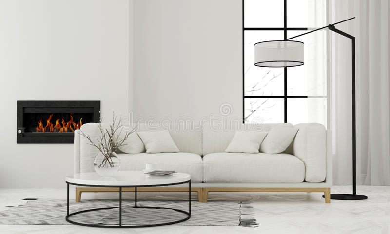 Salon avec la cheminée minimaliste illustration stock