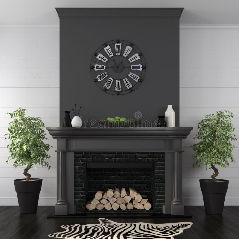 Salon avec la cheminée noire dans le style classique images libres de droits