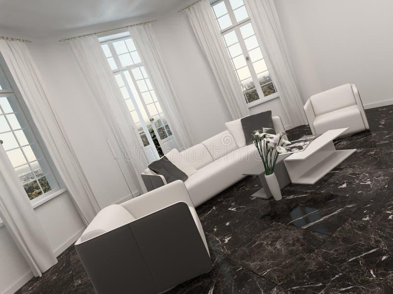 Salon avec la fenêtre en saillie et le divan blanc illustration libre de droits