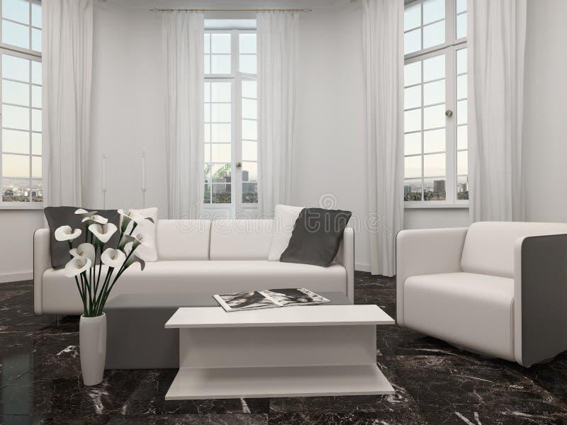 Salon avec la fenêtre en saillie et le divan blanc illustration stock
