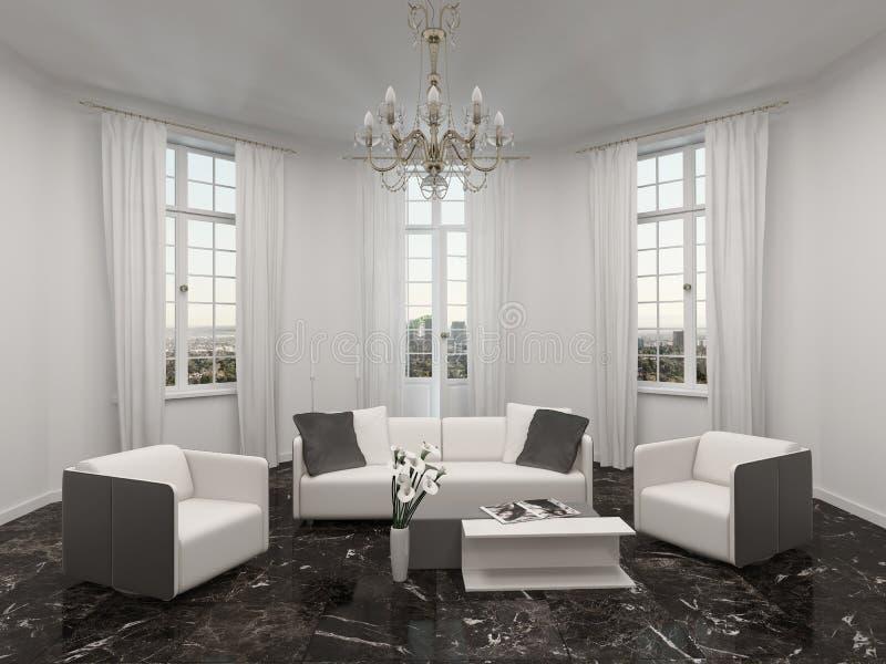 Salon avec la fenêtre en saillie, le lustre et le divan illustration de vecteur