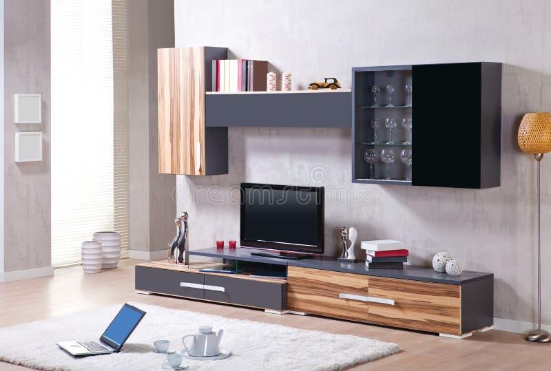 Salon avec le support de TV photos stock