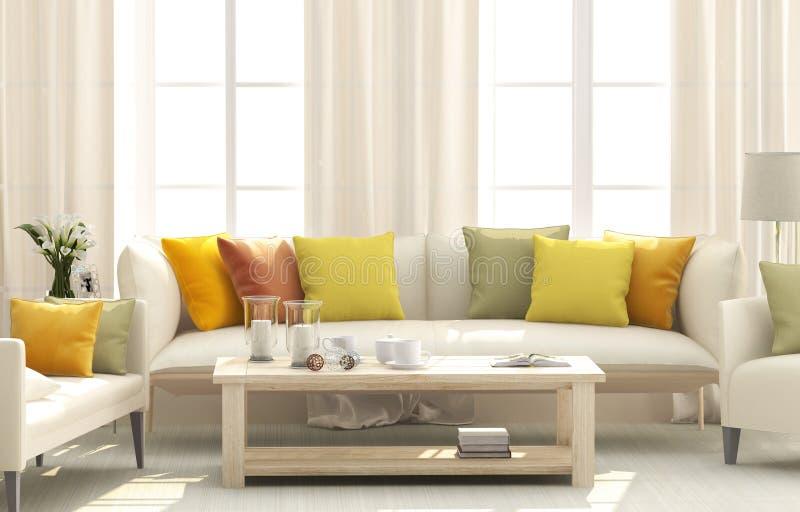 Salon avec les coussins lumineux image stock