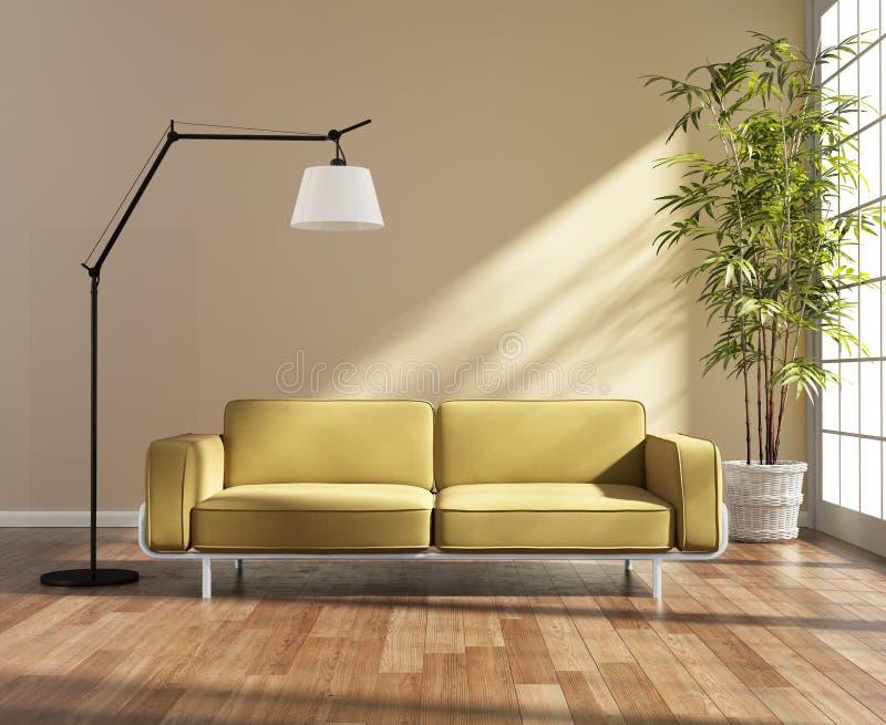 Salon avec un sofa jaune par la fenêtre photos stock
