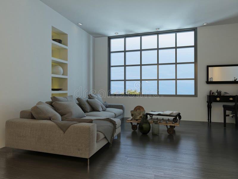 Salon avec une fenêtre de style de cottage-carreau illustration de vecteur