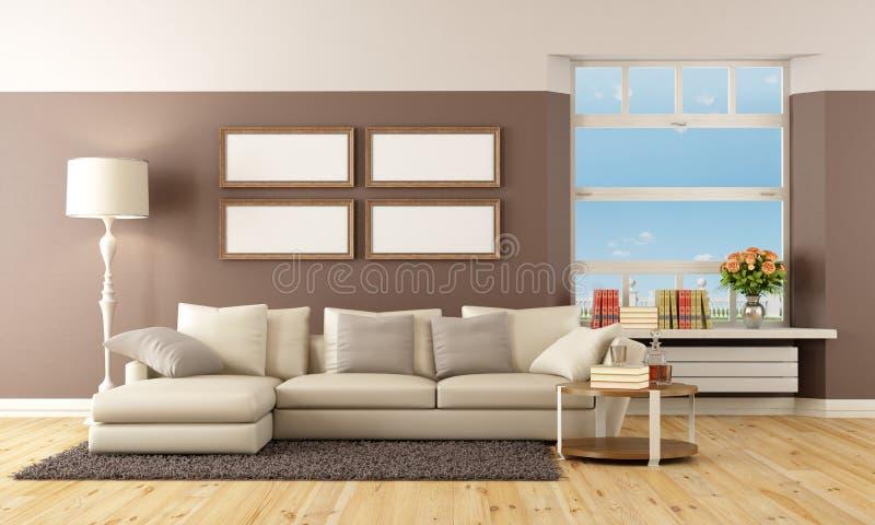 Salon beige et brun illustration stock. Illustration du horizontal ...