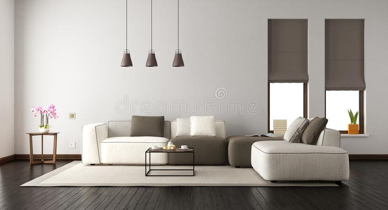 Salon blanc avec le sofa élégant illustration libre de droits