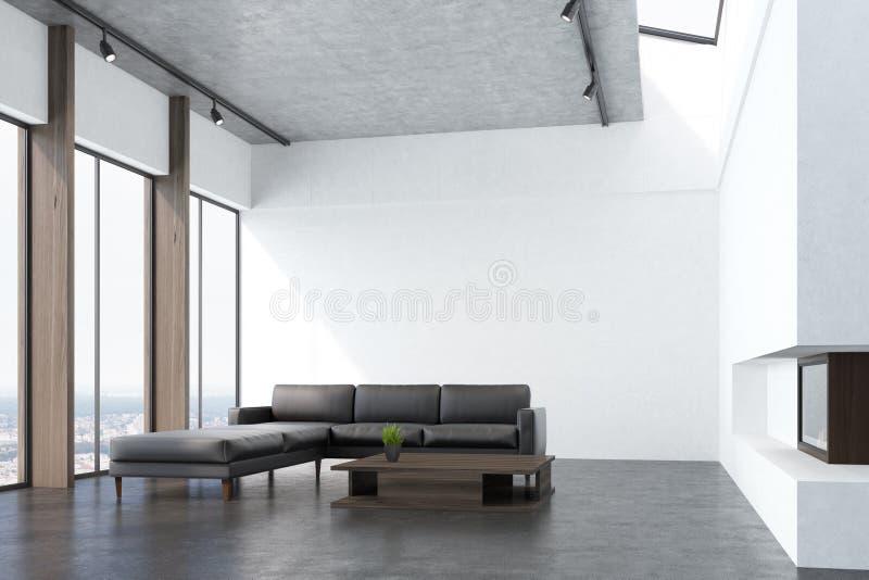 Salon blanc avec un sofa, côté illustration de vecteur