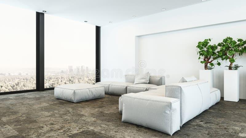 Salon blanc d'appartement terrasse de peluche avec la vue de ville illustration libre de droits