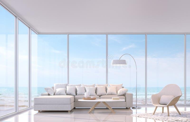 Salon blanc moderne avec l'image de rendu de la vue 3d de mer Il y a grande fenêtre donne sur à la vue de mer illustration stock