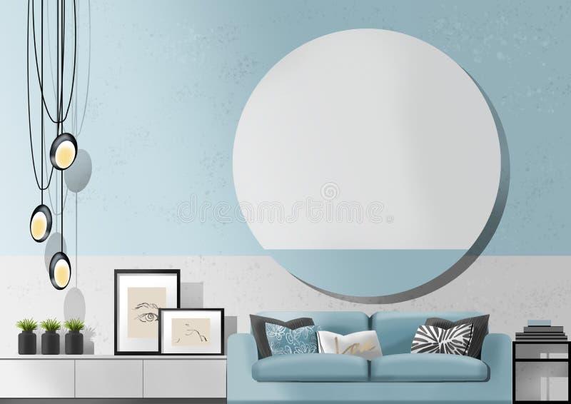 Salon bleu-clair avec le sofa, peinture d'illustration photos stock