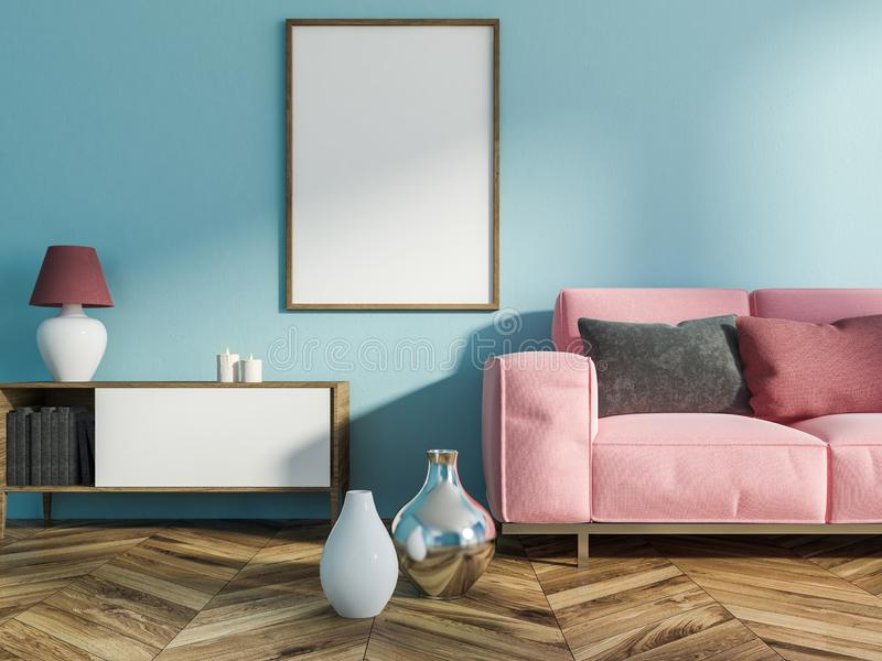 Salon bleu, sofa rose, affiche illustration de vecteur