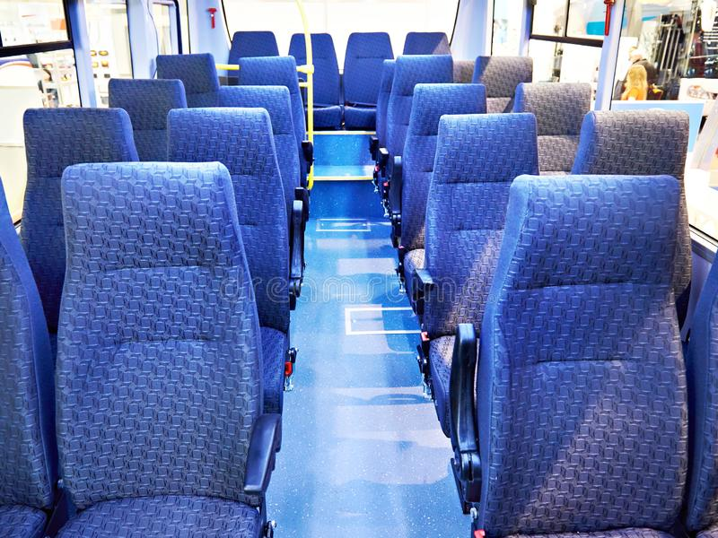 Salon of bus with seats stock photo