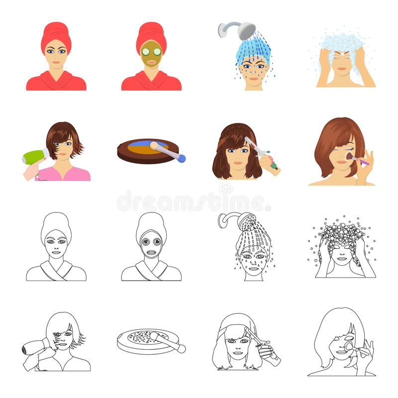 Salon, care, hygiene and other web icon in cartoon, outline style. Hands, hairdresser, beauty, icons in set collection. Salon, care, hygiene and other icon in stock illustration